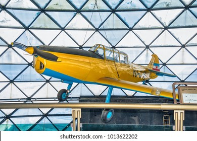 Belgrade, Serbia January 10, 2017: The Museum of Aviation in Belgrade. Ikarus Aero 2Be. This plane of Serbian construction and production was constructed in 1940.