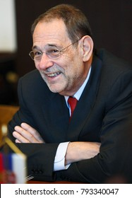 Belgrade, Serbia - January 12, 2007: Portrait of Javier Solana, Secretary General of the Council of the European Union at the time, during the political meeting in front of media representatives