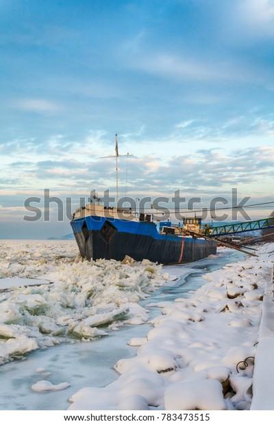 Belgrade, Serbia January 12, 2017:A big river boat on the frozen Danube in Belgrade