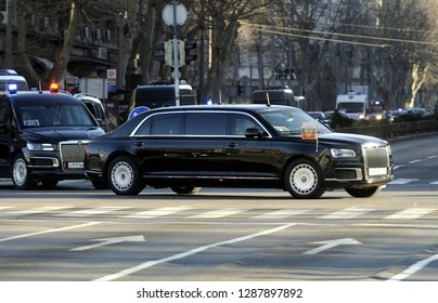BELGRADE, SERBIA - JANUARY 16, 2019: Russian president Vladimir Putin drives through the streets in his Aurus Senat Presidential limousine special armored car, on January 16th in Belgrade