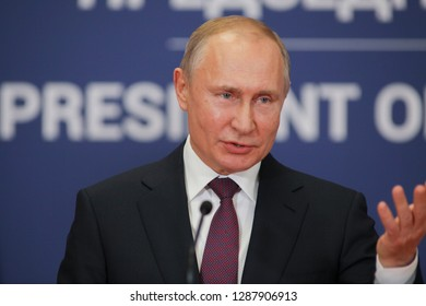 Belgrade, Serbia - January 17, 2019 : Vladimir Putin, the President of Russian Federation in press conference at the Palace of Serbia after a working visit - Image