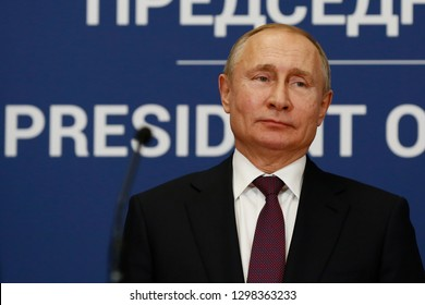 BELGRADE, SERBIA - JANUARY 17, 2019: Russian president Vladimir Putin speaks at press conference during official visit to Serbia, on January 17rd, 2019 in Belgrade