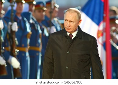 Belgrade, Serbia - January 17, 2019 : Vladimir Putin, the President  Russia attending press conference