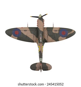 Belgrade, SERBIA - January 18, 2015: Spitfire Mk Vb 1/72 scale model by Amercom on white background.Spitfire is a famous British fighter aircraft. Amercom is publisher and die-cast model manufacturer.