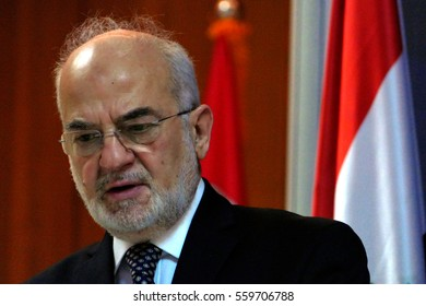 Belgrade, Serbia. January 19th 2017: Iraq Foreign Minister Dr Ibrahim al Jaafari in official visit to Republic of Serbia. Meeting with Serbian Foreign minister Ivica Dacic