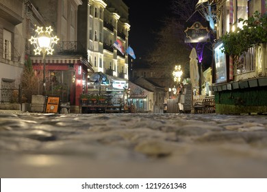 Belgrade, Serbia - January 22. 2018., View, from the ground, on empty iconic, pedestrian street, called Skadarlija in Belgrade, Serbia during the winter night