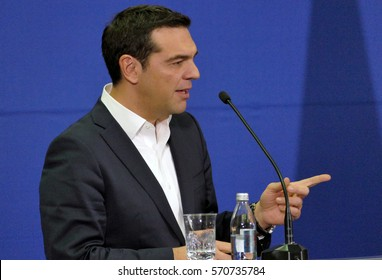 Belgrade, Serbia. January 31st 2017 - Greece Prime Minister Alexis Tsipras and Serbian Prime Minister Aleksandar Vucic holds a joint press conference during the official visit of Greek PM to Serbia