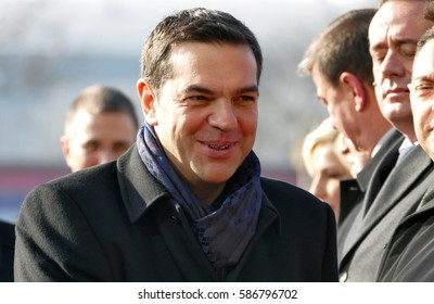 Belgrade, Serbia. January 31st 2017 - Greece Prime Minister Alexis Tsipras in official visit to Belgrade. Serbian Prime Minister Aleksandar Vucic host the Greek Prime Minister