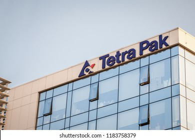 BELGRADE, SERBIA - JSEPTEMBER 19, 2018: Tetra Pak logo on their main office for Serbia. tetra Pak is a Swedish multinational company specialized in Food and product packaging