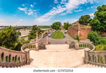 Belgrade, Serbia - July 01, 2018: Kalemegdan Park and Fortress, Exhibition in the open space, Kalemegdan Fortress and a monument to the Victor; Belgrade, Serbia