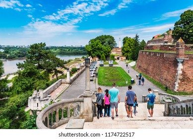 BELGRADE, SERBIA - July 01, 2018: Belgrade Fortress. Sava Promedade and Great Stairs of Kalemegdan Park.