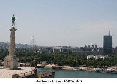 Belgrade, Serbia - july 01, 2019: Kalemegdan fortress and Victor monument Belgrade, Usce Sava and Danube confluence view in background