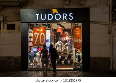 BELGRADE, SERBIA - JULY 10, 2018:  Tudors logo in front of their shop for belgrade. Tudors is a Turkish brand of fashion accessories and clothing known for their shirts.