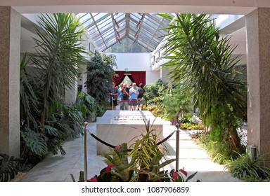 BELGRADE, SERBIA - JULY 11, 2016. Tourists are visiting to Mausoleum (The House of Flowers) of Josip Broz Tito –President of Yugoslavia. Belgrade, Serbia, The Museum of Yugoslav History.