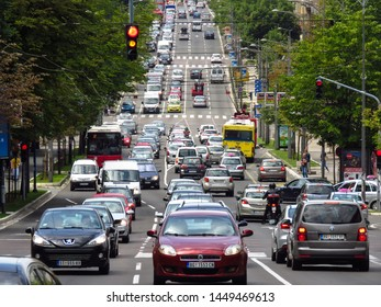Belgrade, Serbia - July 12 2019. Rush hour in Kneza Milosa street, one of the busiest streets in town.