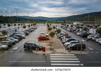 Belgrade, Serbia - July 12, 2019: Aerial view of cars on a parking lot