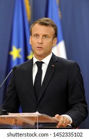 BELGRADE, SERBIA - JULY 15, 2019: French president Emmanuel Macron gestures during press conference in Belgrade