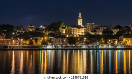 Belgrade / Serbia - July 17th 2018: night view of old part of Belgrade, capital of Serbia, as seen across Sava river, Belgrade, Serbia.