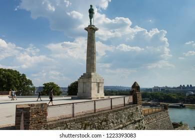 Belgrade, Belgrade / Serbia - july 21st 2018: Tourists walking around the monument 'Pobednik' in Belgrade.