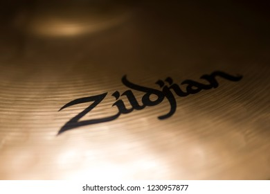 BELGRADE, SERBIA - JULY 23, 2018: Detail of the Zildjian cymbal in Belgrade, Serbia. Avedis Zildjian Company  is an American cymbal manufacturer founded in Turkey at 1623.