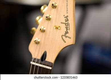 BELGRADE, SERBIA - JULY 23, 2018: Detail of the Fender guitar in Belgrade. Fender Musical Instruments Corporation is an American manufacturer of stringed instruments and amplifiers founded at 1946.