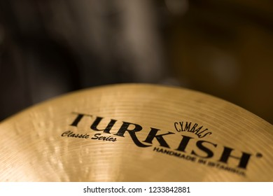 BELGRADE, SERBIA - JULY 23, 2018: Detail of the Turkish Cymbals cymbal. Turkish Cymbals produce handcrafted cymbals and company was founded founded at 1996 in Istanbul, Turkey.