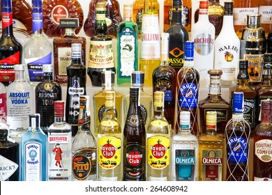 BELGRADE, SERBIA - JULY 24, 2014: Various alcohol bottles in the bar.