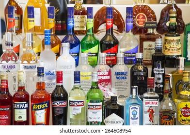 BELGRADE, SERBIA - JULY 24, 2014: Various alcohol bottles in the bar.