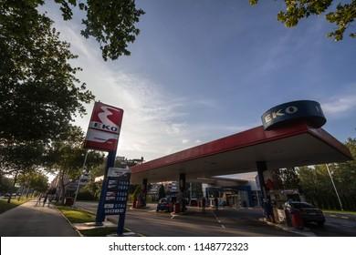 BELGRADE, SERBIA - JULY 26, 2018: EKO logo on their gas station in New Belgrade. Member of Hellenic Petroleum, EKO is the main petrol stations and energy groups of Greece, spread in the Balkans