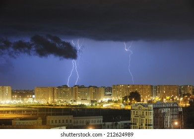 BELGRADE, SERBIA - JULY 27,  2014:  Lightning strikes on a stormy evening above Belgrade. Thunderstorms during summer 2014 in Belgrade was really often because of climate changing