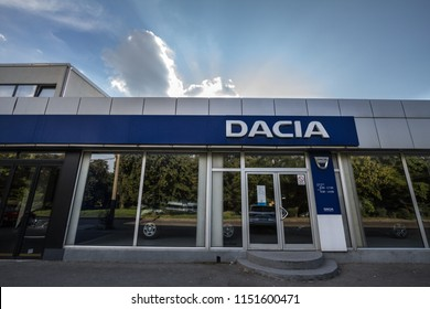 BELGRADE, SERBIA - JULY 29, 2018: Dacia logo on their main dealership store Belgrade. Dacia is a Romanian car and automotive manufacturer, part of Renault group