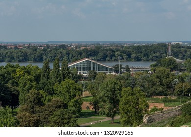 Belgrade, Serbia - July 29, 2018: View from Kalemegdan fortress over Lower Kalemegdan, sport center Milan Gale Muskatirovic and river Danube. Bright, sunny, summer day.