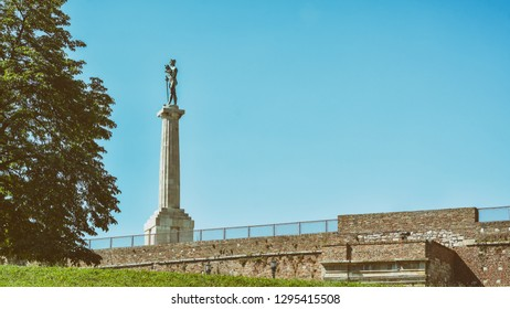 BELGRADE, SERBIA, JULY 4, 2014: View of Pobednik (Victor), a monument in the Upper Town of the Belgrade Fortress, built to commemorate Serbia's victory during Balkan Wars and the First World War.