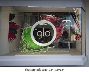 BELGRADE, SERBIA - JULY 6, 2019: Glo logo in front of a local shop in Serbia. Glo, beloning to British American Tobacco is a tobacco heating cigarette system
