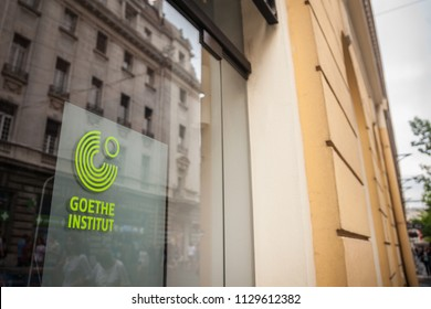 BELGRADE, SERBIA - JULY 7, 2018: Logo of the Belgrade Goethe Institut in the main street of the city. Goethe institute is the German cultural center, spread worldwide