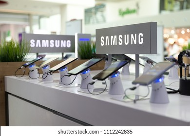 Belgrade, Serbia - Jun 01, 2018: Samsung Galaxy Smartphones are shown on display in electronic store. Brand logo in the background.