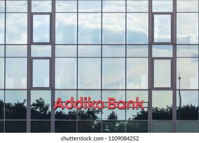 BELGRADE, SERBIA - JUNE 03, 2018: Logo of Addiko Bank on their local headquarters for Serbia. Formerly Hypo Alpe Adria, Addiko is an Austrian banking group spread in Southeastern Europe