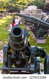 Belgrade, Serbia - June 09, 2013: Howitzer gun on stone foundation as part of outdoor exposition of various artillery weapons on territory of Belgrade fortress.