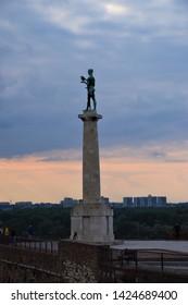 Belgrade, Belgrade / Serbia - June 1 2019: The Victor Monument Fortress Danube river Kalemegdan Park travel history statue