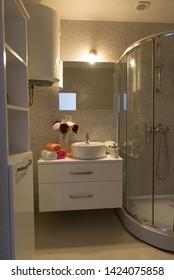 Belgrade, Serbia - June 13 2019 : Modern luxury bathroom interior.
