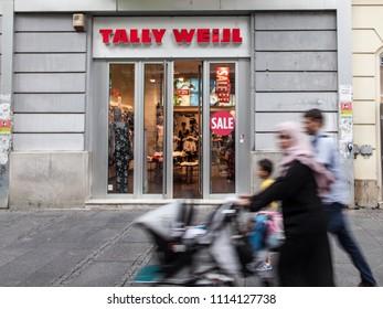 BELGRADE, SERBIA - JUNE 14, 2018: Logo of the main Tally Weilj store in Belgrade. Tally Weijl is a Swiss clothing fashion label spread worldwide