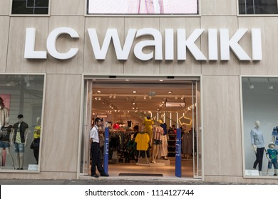 BELGRADE, SERBIA - JUNE 14, 2018: Logo of the main LC store in Belgrade. LC Waikiki is a clothing fashion label, originately French, now belonging to the Turkish Taha Tekstil