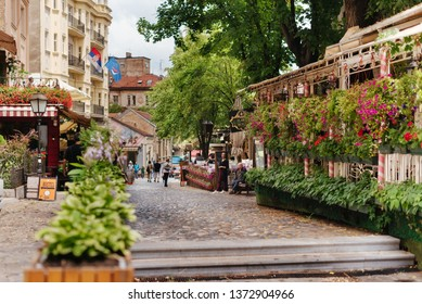 Belgrade, Serbia - June 16, 2018. Flowers in pots on historic place Skadarlija with trees, cafes, cobbled lanes and alleys in downtown. Bohemian street with bars and restaurants.