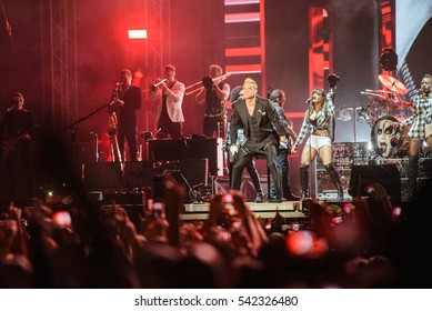 Belgrade, Serbia - June 17th: Pop star singer Robbie Williams during performance at concert for Let Mâ??e Entertain You Tour in Usce park, June 17th 2015, in Belgrade Serbia