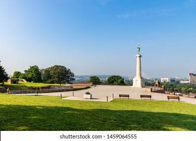 BELGRADE / SERBIA - JUNE 19, 2019: The Pobednik monument and fortress Kalemegdan