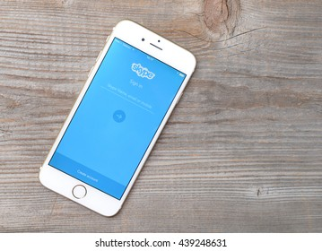 BELGRADE, SERBIA - JUNE 19,2016: Iphone 6 with Skype application login on a screen.Skype was founded in 2003 by Niklas Zennstr�?�¶m, from Sweden, and Janus Friis, from Denmark