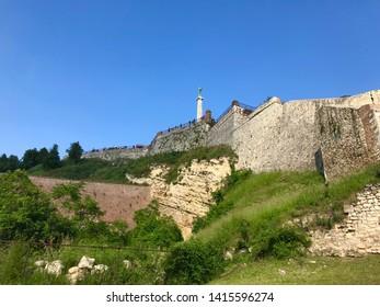 Belgrade, Belgrade / Serbia - June 2 2019: Fortress Kalemegdan Park medieval wall tower monument attraction clear blue sky