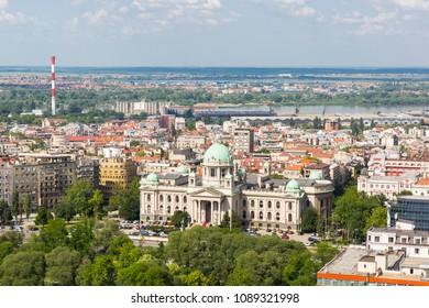 BELGRADE, SERBIA - JUNE, 2018: Panoramic view of the Belgrade, capital of the Serbia