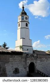 Belgrade, Serbia - June 25 2011: Clock Tower (Sahat Tower) at Belgrade Fortress and Kalemegdan Park