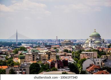 Belgrade, Serbia - June 27, 2014: Panorama of Belgrade. The photograph shows part of Belgrade and municipality Vracar and Temple of Saint Sava.